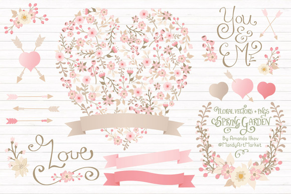 Soft Pink Floral Heart Banners