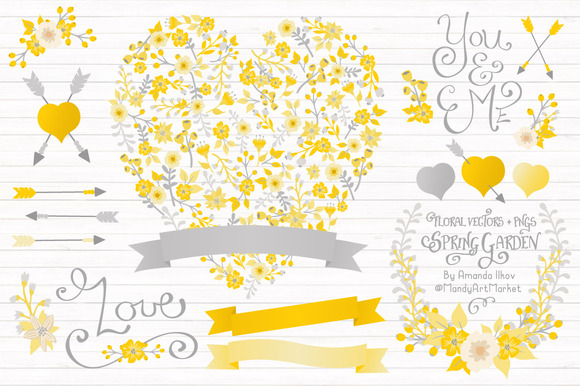 Sunny Yellow Floral Heart Banners
