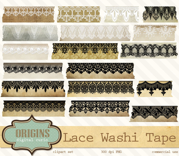Victorian Lace Digital Washi Tape
