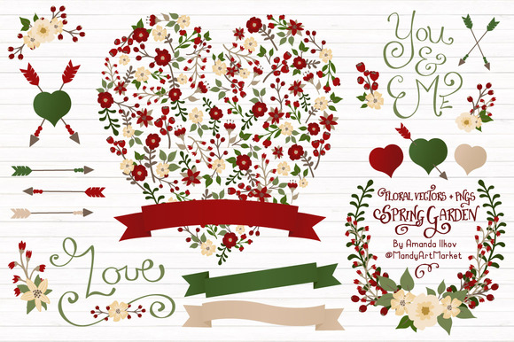 Christmas Floral Heart Vectors