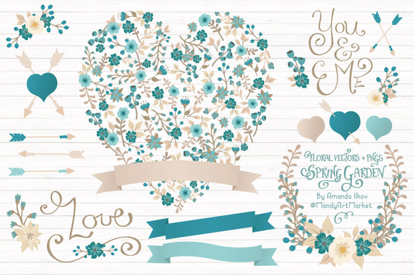 Vintage Blue Floral Heart Banners