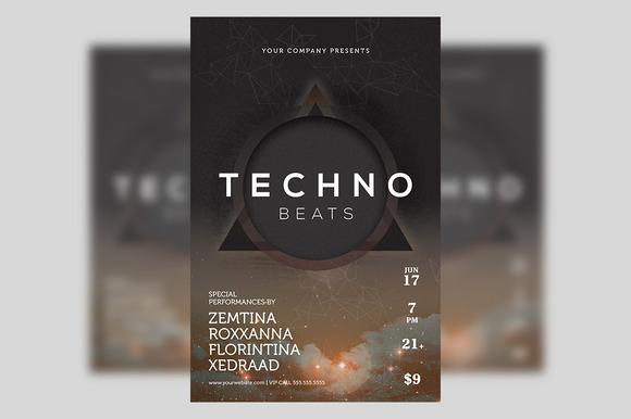 Techno Beats Futuristic Club Poster