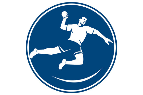 Handball Player Jumping Throwing Bal