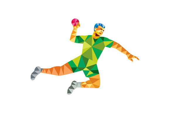 Handball Player Jumping Throwing Bal