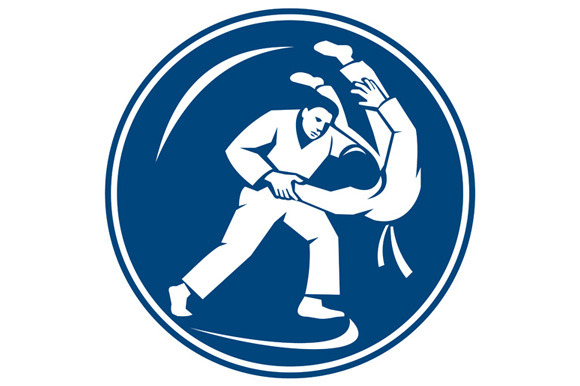 Judo Combatants Throw Circle Icon