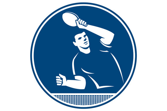 Table Tennis Player Serving Circle I