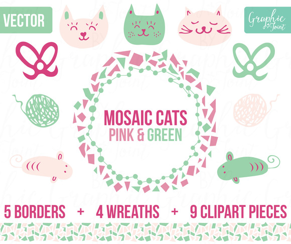 Mosaic Cats Mice Pink Green