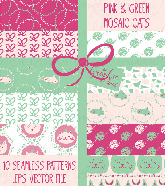 Mosaic Cat Patterns Pink Green