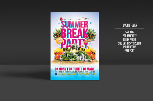 Summer Break Time Party Flyer