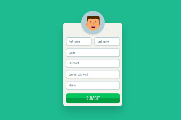 Registration Form Vector Flat