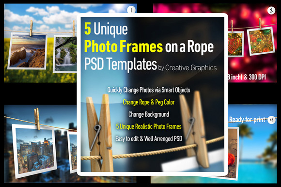 Photo Frames On A Rope PSD Mockup
