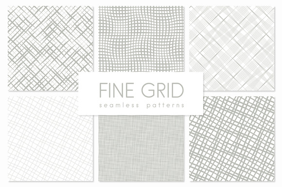 Fine Grid Seamless Patterns Set