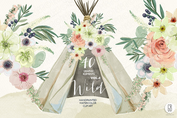 Watercolor Teepee Tipi Flowers