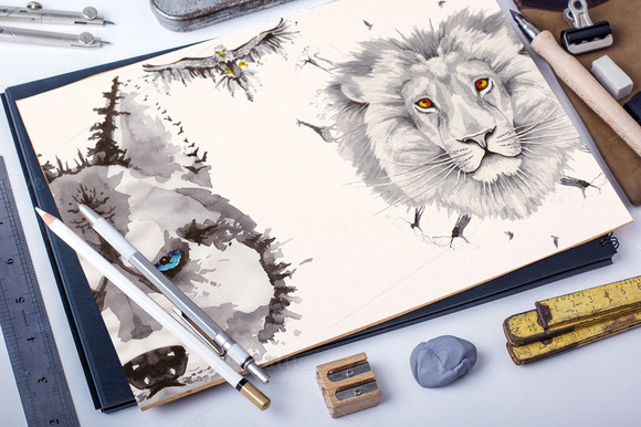 Set Of 6 Vector Watercolor Animals