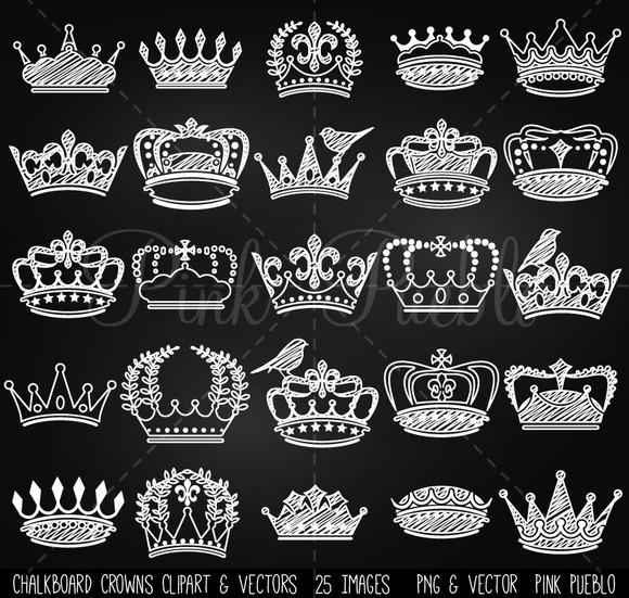 Chalkboard Crowns Clip Art Vectors