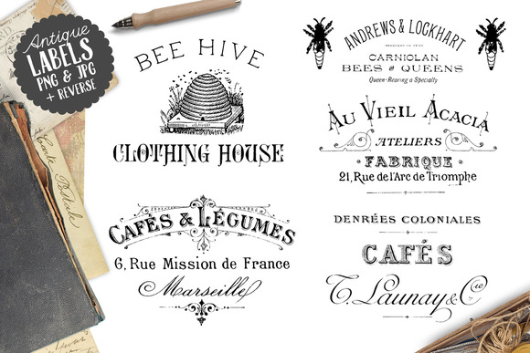 Vintage Antique Word Labels Set