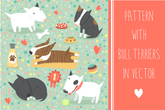 Pattern With Bull Terriers In Vector