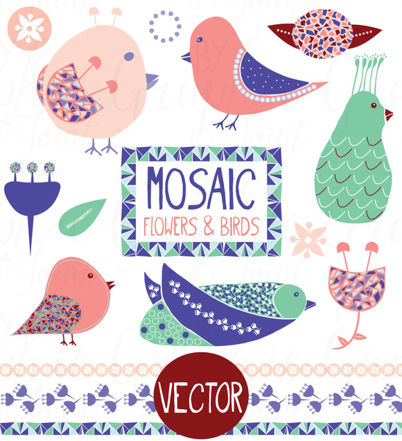 Mosaic Birds Flowers Graphic Set