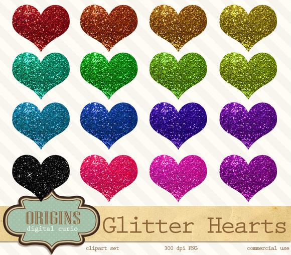 Glitter Hearts Clip Art Clipart