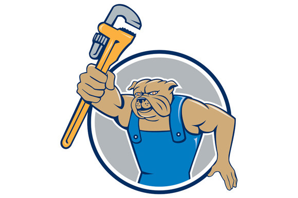 Bulldog Plumber Monkey Wrench Circle