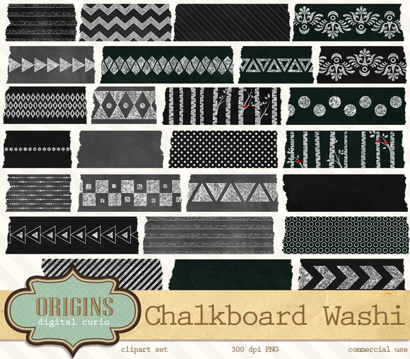 Chalkboard Digital Washi Tape