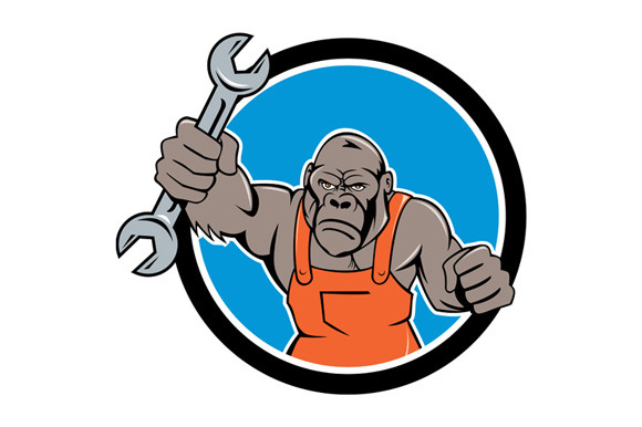 Angry Gorilla Mechanic Spanner Circl