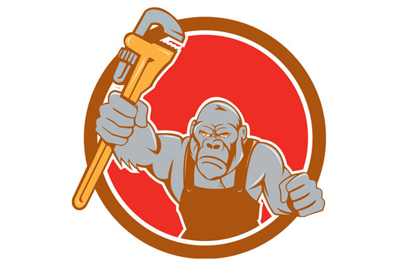 Angry Gorilla Plumber Monkey Wrench