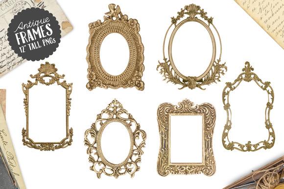 6 Antique Gold Frame Graphics PNG