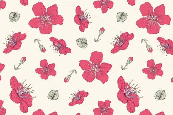 Red Blossoms Seamless Pattern