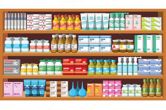 Set Of Pharmacy Medicine