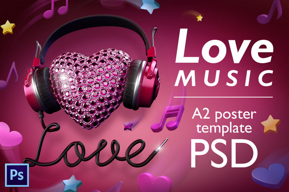 Love Music PSD Poster Template