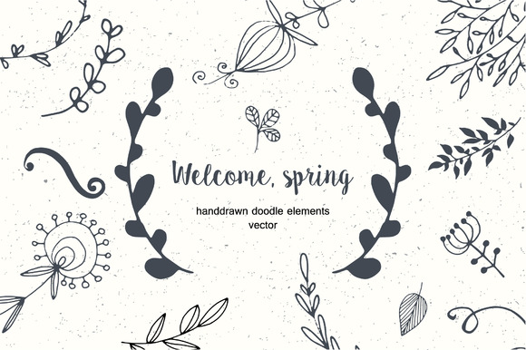 Set Of Floral Doodle Elements