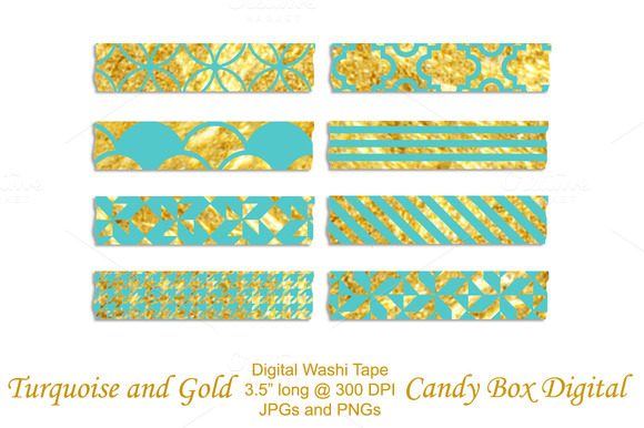 Turquoise N Gold Digital Washi Tape