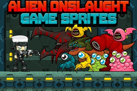 Alien Onslaught Game Sprites