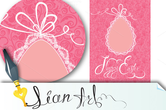 Easter Greeting Card With Lace Egg