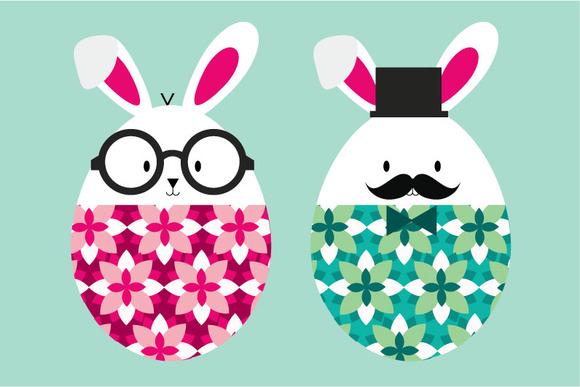 Easter Rabbits Bunnies Vector