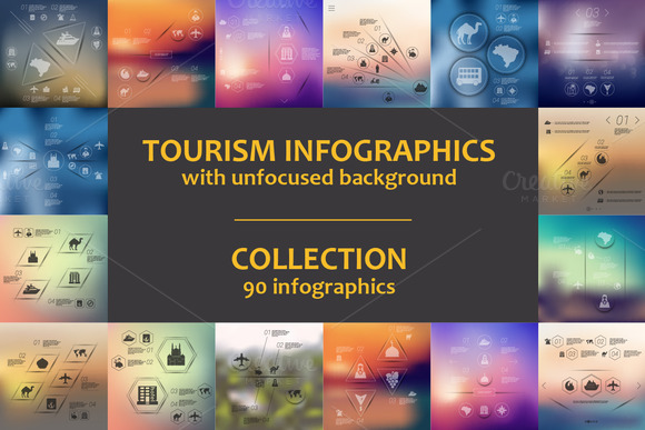 90 TOURISM INFOGRAPHICS Collection