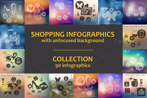 90 SHOPPING INFOGRAPHICS Collection
