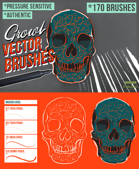 Growl Vector Brushes