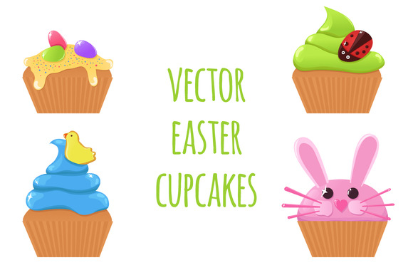 Vector Easter Cupcakes