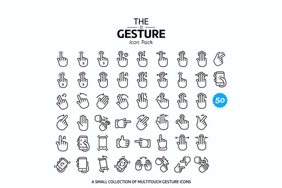 50 Multitouch Gesture Icon