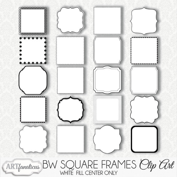 BLACK WHITE SQUARE FRAMES