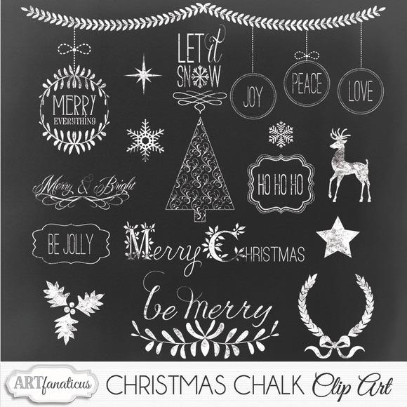 CHRISTMAS CHALK CLIPART