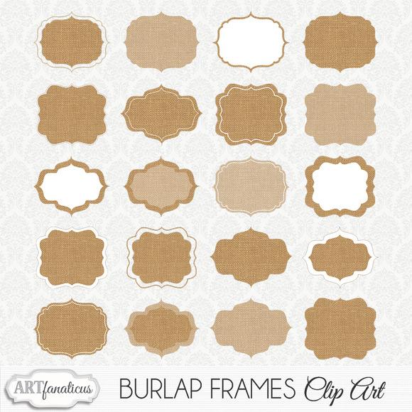 BURLAP FRAMES CLIPART