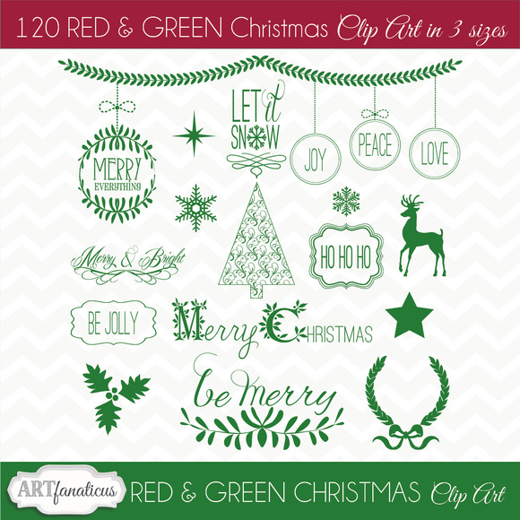 RED GREEN CHRISTMAS CLIPART