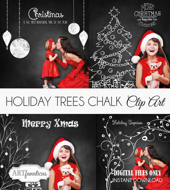 PHOTO HOLIDAY TREE CHALK CLIPART