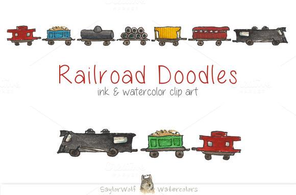 Railroad Train Hand Drawn Clip Art