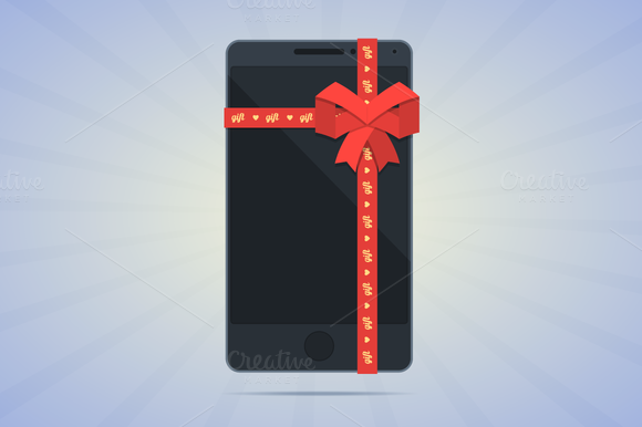 Wrapped Smartphone With Red Ribbon