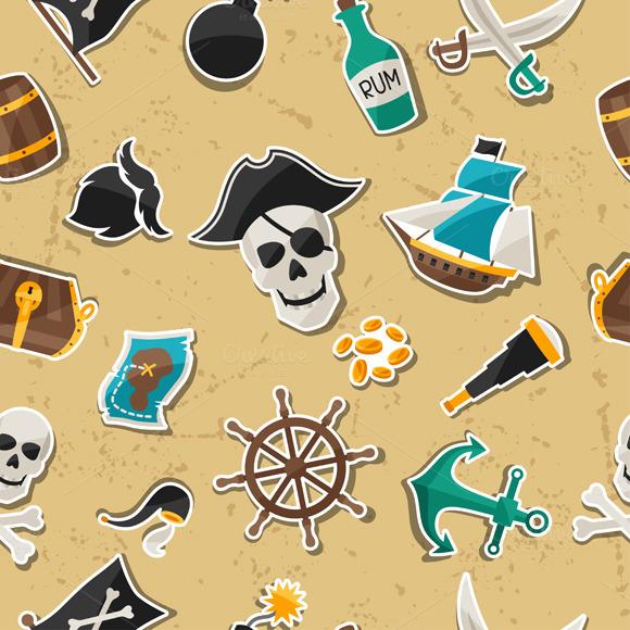 Seamless Patterns On Pirate Theme