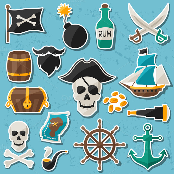 Set Of Stickers On Pirate Theme